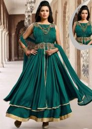 Party Wear Satin Rma Green Embroidered Work Anarkali Suit