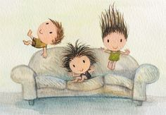 when friends drop in  cute children jumping on by TummyMountain, $25.00