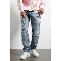 Forever21 Jordan Craig Distressed Jeans ($68) ❤ liked on Polyvore featuring  men's fashion,