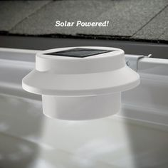 Solar Gutter Light @ Fresh Finds  Solar LED gutter light illuminates dark areas around your home's exterior. This powerful outdoor light with three LED bulbs attaches quickly and easily to gutters or other flat surfaces with the included bracket. No wiring needed—a built-in solar panel absorbs sunlight by day; automatically goes on at dusk, off at dawn. Has on/off switch. Weather-resistant housing