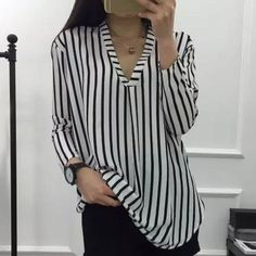 Women's Chic V Neck 3/4 Sleeve Striped Blouse