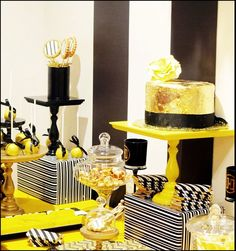 """Photo 1 of 23: Black, Yellow and White WIth A touch of Gold / Bridal/Wedding Shower """"Wedding Shower""""   Catch My Party"""