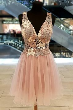 Cute See Through Short Mini A Line Cocktail Party Dress V Neck Pink Tulle Lace Winter Prom Dresses, W Dresses, Prom Dresses Online, Elegant Dresses, Beautiful Dresses, Nice Dresses, Formal Dresses, Pink Tulle, Tulle Lace