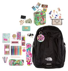 """""""What's in your backpack"""" by ava-lindsey ❤ liked on Polyvore featuring The North Face, Lilly Pulitzer, Maybelline, Topshop, Juicy Couture, J.Crew, Vera Bradley, Marc by Marc Jacobs, Kate Spade and Jonathan Adler"""