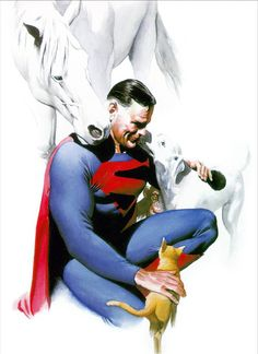Kingdom Come Superman with: Krypto, Streaky, Comet & Beppo. By Alex Ross.