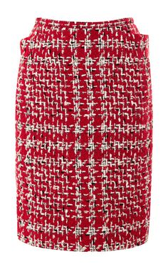 Shop Rubberized-Boucle Pencil Skirt by Thom Browne Now Available on Moda Operandi