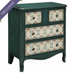 "Weathered chest with a scalloped apron and scrolling front paneling.   Product: ChestConstruction Material: WoodColor: Green and beigeFeatures: Scalloped apronDimensions: 34.25"" H x 31.88"" W x 15.94"" D"