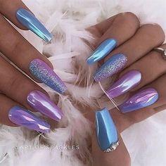 39 Stylish acrylic coffin nail art design for summer - Edeline approx. - 39 stylish acrylic coffin nail art design for summer – - Gorgeous Nails, Pretty Nails, Hair And Nails, My Nails, Cute Acrylic Nails, Acrylic Nails Chrome, Acrylic Art, Holographic Nails Acrylic, Chrome Nail Art