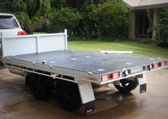 TRAILER PLANS - TRAILER BUILD - A custom plan with a full width hydraulic tipping trailer that converts into a toy hauler with removable sides. Toy Hauler Trailers, Dump Trailers, Trailer Plans, Trailer Build, Welding Projects, Diy Projects, Welding Trailer, Latest Trailers, Utility Trailer