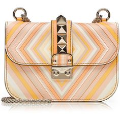 Valentino Lock Printed Leather Shoulder Bag ($2,595) ❤ liked on Polyvore featuring bags, handbags, shoulder bags, orange, studded purse, orange leather handbag, leather shoulder handbags, genuine leather purse and real leather handbags