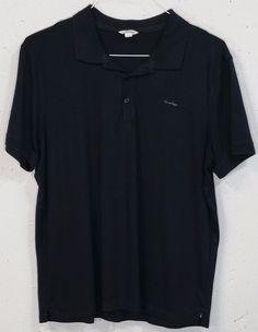 Calvin Klein Mens Navy Blue 100% Cotton Short Sleeve Polo Shirt Large L #CalvinKlein #PoloRugby