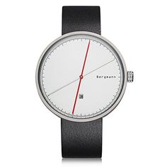 Bergmann Red Dot Award Designer Men Fashion Watch Silver Case Black Leather White Dial Date Cool Watch. Red Dot Award-Oscar of Industrial Design. Top Fashion. Designer Watch. Extreme Concise. Silver - Hour Hand/ Red - Minute Hand.