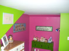 pink and green. Pink And Green, Toy Chest, Storage Chest, Gallery Wall, Cabinet, Antiques, Frame, Decor Ideas, Furniture