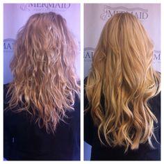 Gorgeous fusion Classic Mermaid extensions! #beforeandafter #extensions #kirkland #mermaidhair #hairdreams