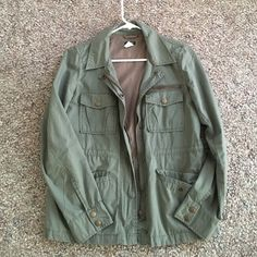 J Crew Military Jacket J crew military jacket. Size small. 100% cotton. Lined. 5 pockets. Super cute! Great condition. No stains or tears! J. Crew Jackets & Coats Utility Jackets