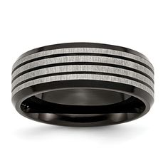 Stainless Steel Striped 8mm Black IP-plated Brushed/Polished Band SR155