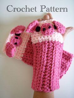 Crochet Piggy Pig Fingerless Gloves Pattern PDF by prettythings55, $4.99