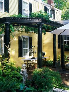 Greek-Inspired Pergola Grow Japanese wisteria on a pergola to provide a shady afternoon retreat. The lattice topping this pergola is a good choice because it allows vines and other large foliage to spread out. The deep green color of this Greek Revival pergola matches the homes shutters.