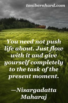 """You need not push life about. Just flow with it and give yourself completely to the task of the present moment."" Nisargadatta Maharaj"