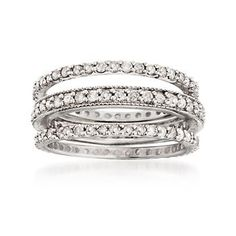 Set of Three 1.35 ct. t.w. Diamond Eternity Bands in Sterling Silver
