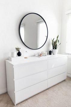 Diy Storage Dresser, Small Bedroom Storage, Storage Room, Dresser Ideas, Bedroom Small, Ikea Drawers, Corner Drawers, Apartment Bedroom Decor, Dresser With Mirror