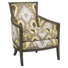Really into reupholstered old chairs with ikat fabric lately.