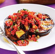 Grilled Eggplant with Roasted Red Pepper Relish (double the relish)