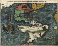 The New Island Behind Hispaniaby Sebastian Münster, 1540. This was the first separate map of the Americas. Note the dismembered human tied to a tree in South America near the textCanibali, and the city ofTemistitan (orTenochtitlan, nowMexico City). Ferdinand Magellan's voyage is symbolized by a ship in the Pacific Ocean.