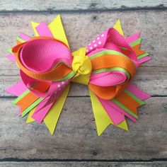 Summer hair bow - Summer - Summer bow - Bright bow - hair bow - Boutique bow - Summer Boutique Bow - Summer time bow - Hair clip - Girl bow by BBgiftsandmore on Etsy