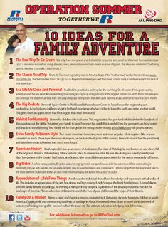 10 Ideas for a Family Adventure via All Pro Dad