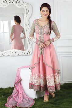 Sensational pink suit with kundan work (unstitched suit)
