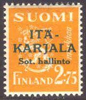 East Kareli 1941 green overprint on 2,75mk p:14 [Facit 11, Mi:FI-EK 11]
