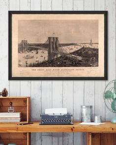 Tablou Framed Art The Great Suspension Bridge East River, Suspension Bridge, Framed Art, Vintage World Maps, Floral, Poster, Painting, Manish, Flowers