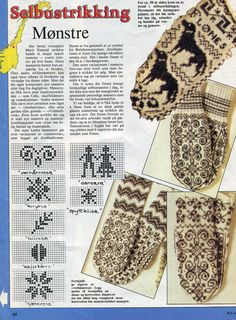 norwegian mittens, patterns pinned next to pic Knitted Mittens Pattern, Fair Isle Knitting Patterns, Knit Mittens, Knitting Charts, Knitting Socks, Mitten Gloves, Knitting Machine, Knit Or Crochet, Filet Crochet