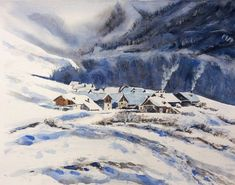 Snow Mountain, watercolor landscape, mountains artwork, snow painting, hand made painting Original watercolor painting by JPWisniewski Watercolor Landscape, Watercolor Paintings, Original Paintings, Painting Snow, How To Make Paint, Snow Mountain, Alps, Mountains, The Originals