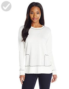 Calvin Klein Women's Colorblock Planal Pullover, Winter White/Black, X-Small - All about women (*Amazon Partner-Link)