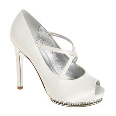 Women's Adrianna Papell 'Golda' Peep Toe Crystal Embellished Platform... ($150) ❤ liked on Polyvore featuring shoes, pumps, ivory satin, high heel stilettos, platform pumps, satin peep toe pumps, platform stilettos and ivory peep toe pumps