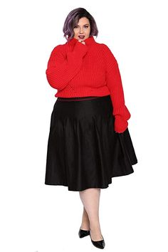 af1a27f7853 Astra Signature Women s Plus Size Basic Pleated Midi Skirt High Waisted  Flared Black Skater Skirt 18W