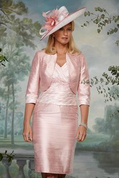 90400 (Condici) A sophisticated silk dress and bolero jacket in Cream & Rosebud Pink. The dress has a striped ruched bodice with embroidered detailing under the bustline and peplum. The skirt is a straight structure and the length will sit Read More...
