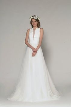 High Neck A-Line Wedding Dress  with Natural Waist in Silk Crepe. Bridal Gown Style Number:33285651