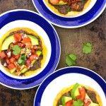 Crispy Tostadas with Homemade Refried Beans, Pico De Gallo & Avocado
