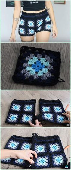 Crochet Square Shorts Free Pattern [Video] - Crochet Summer Shorts & Pants Free Patterns