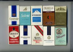 1960s' cigarette packets