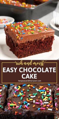Easy Cakes For Kids, Cake Recipes For Kids, Sheet Cake Recipes, Easy Cake Recipes, Baking Recipes, The Best Dessert Recipes, Birthday Cake For Men Easy, Chocolate Cake Recipe For Kids, Best Chocolate Cake