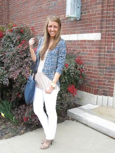 @Nordstrom blazer with white jeans and @Fringe and Lace blouse