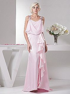 Crystal Detailed Chiffon and Elastic Satin Evening Dress with Ruffles'