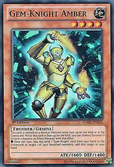 Original KONAMI Yu-Gi-Oh! Trading Card Gem-Knight Amber (Edelstein-Ritter Bernstein) Kartennummer: HA06-DE033 Deck: Hidden Arsenal 6 Häufigkeit: Super Rare Kartentyp: Effekt-Monsterkarte Typ: Donner / Zwilling / Effekt ATK/DEF: 1600/1400 GBA: 72056560 | Günstig bei eBay kaufen!