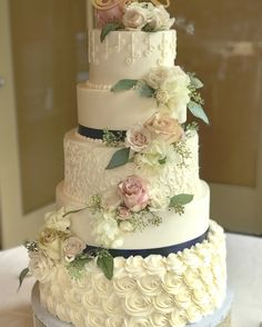 Different patterned buttercream wedding cake Fountain Wedding Cakes, 5 Tier Wedding Cakes, Wedding Cake Display, Fondant Wedding Cakes, Buttercream Wedding Cake, White Wedding Cakes, Elegant Wedding Cakes, Beautiful Wedding Cakes, Gorgeous Cakes