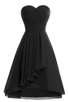 Chengzhong Sun Women A-line Knee Length Bridesmaid Homecoming Dresses Black