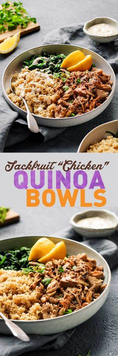 "Easy Jackfruit ""Chicken"" Quinoa Bowls - Full of Plants Jackfruit Chicken, Jackfruit Recipes, Jackfruit Dishes, Veggie Recipes, Vegetarian Recipes, Cooking Recipes, Healthy Recipes, Vegan Recepies, Pescatarian Recipes"